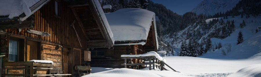 Snow covered chalets in the French Alps
