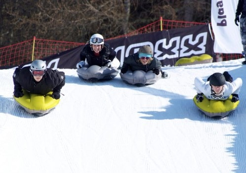 Airboard The latest bouncy, slippy slidy crazy involving powdery slopes and inflatable sledges. With few hard edges & at slower speeds this is a great activity for youngsters and those who prefer to take it easy.