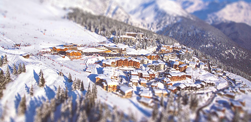 Ski Resort La Rosiere and the village of Les Eucherts