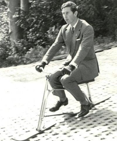 Prince Charles on a ski bike