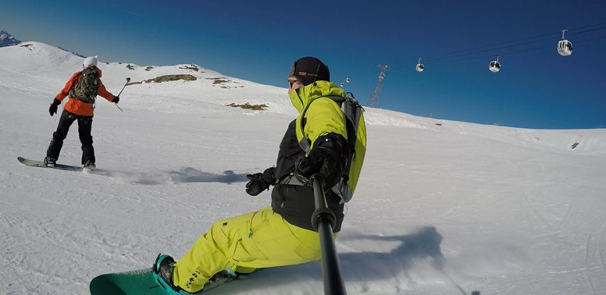 Taking action cam footage on the slopes