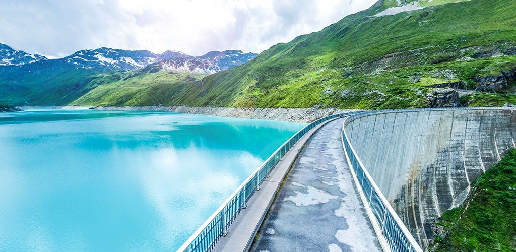 Moiry reservoir in Grimentz in summer
