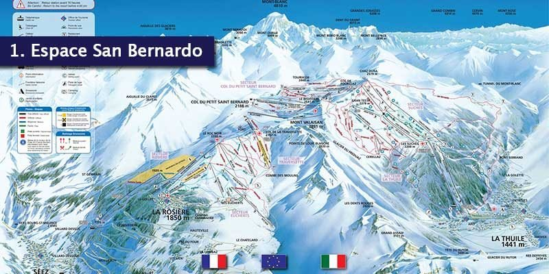 <h3>Espace San Bernardo</h3>Boasting 160km of slopes and the opportunity to ski from France to Italy, it's one thing that needs to be on your bucket list.<br></br>The French side is more suitable for beginners whereas the slopes around La Thuile are more for the advanced skiers. The slopes rise to 2641m where you can take a 11km ride back down to La Thuile.<br></br>A single ski pass gains access to the 160km of slopes and with the outstanding snow cover from the beginning of December to April, we think a trip like this would be difficult to say no to. Make sure you explore the French and Italian Alps!