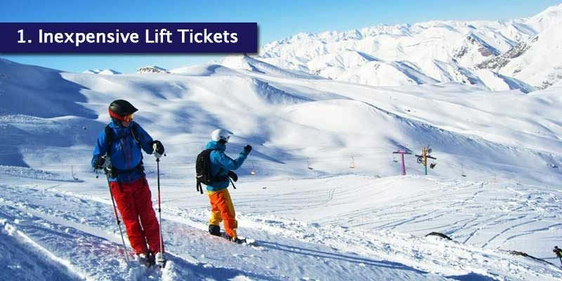 <h3>Low Skiing Costs</h3>You can get lift tickets for around $20, especially in the Dizin ski resort. It provides you with unlimited all day access to the mountain and the slopes which is every skiers dream. Compared to other ski resorts in Europe, skiing in Iran provides cheaper skiing overall.<br></br>If you don't want to bring your own gear to Iran, you are able to hire out equipment packages for as little as $20 per day from all 3 resorts; Dizin, Shemshak and Darbandsar. We understand that you don't always fancy carrying your luggage through the airport, so hiring outfits and equipment when you're at the resort is much easier.