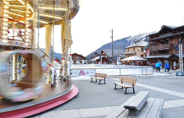The Ice skating rink and merry-go-round in Morzine town centre