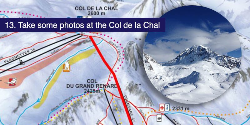 <h3>Take some photos at the Col de la Chal </h3>The best things in the Paradiski are free or at least included in the cost of a lift pass. Taking in the views of Mont Blanc and the Arc Valley on a sunny day down this blue piste in Les Arcs can be priceless. Find the Col de la Chal on a clear day, there are some great places on the piste to stop and take a panorama or a selfie.