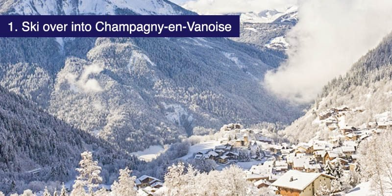 "<h3>Ski over into Champagny-en-Vanoise</h3>Some of the best skiing in the La Plagne area is found at the southern tip as you head over the top from either Les Verdons, La Grand Rochette or Roche de Mio and make your way down to <a href=""https://winter.champagny.com/resort-guide/welcome-to-champagny-en-vanoise.html"" target=""_blank"">Champagny-en-Vanoise</a> a lovely and traditional village of the 11 that make up La Plagne. It's actually quite close to Courcehvel."