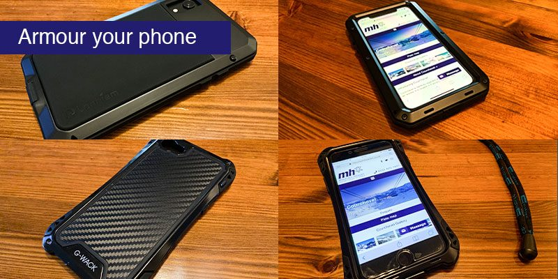 """<h3>Armour your phone</h3>Some cases prevent scratches, some reduce the chance of damage when you drop it. It takes a special sort of protective case to protect it from bending if it's in your pocket when you take a big tumble on the slopes. A plastic or rubber case that will save the phone when it's dropped on a hard floor will provide little resistance to your body weight as it comes bearing down.   Bending your phone might sound like an unlikely event but we've heard about it happening twice before and 3 seasons ago, this author's new iPhone was bent after a fall in zero visibility when I discovered the edge of the piste by falling off it. The following season I got serious about my phone case. In the pictures we see an armoured case for iPhones 6 – 7 and another for the iPhone XR. The first is made by G-Wack and seems no longer to be available the second is made by Lanheim and at the time of writing is available for <a href=""""https://www.amazon.co.uk/gp/product/B07JJYGT45"""" target=""""_blank"""" rel=""""noopener"""">£18.99 on Amazon</a>.   These are metal framed cases with rubber inserts, you secure the case with little allan key bolts which is both satisfying and fiddly. You are left with a phone that presents a much harder target to disaster. We've tested the above 2 and been totally satisfied, a search on Amazon for 'Armoured case for (insert phone type here)' will bring up a range of similar cases in addition to some plastic inferior ones."""