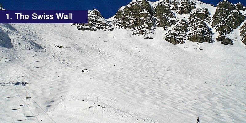 <h3>The Swiss Wall</h3>The popular Swiss Wall, one of the Ports du Soleil's well known runs is the place for more advanced skiers who thrive on challenges and think of themselves as a bit of a daredevil. You can tackle the moguls and build up speed nearer the bottom (without falling down several times we hope).<br></br>It is 1km long and drops 400 metres and the top of the run is so steep that you're unable to see the face of the slope while standing at the stop. Snow conditions contribute massively to how challenging skiers find this run but anyone taking on the Swiss wall should remember confidence is key.