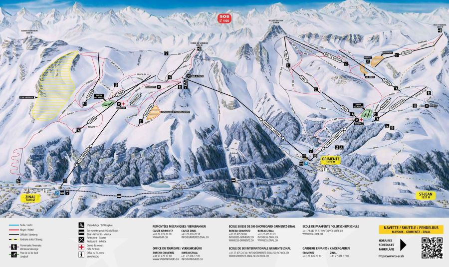 Piste map of Grimentz, St Jean and Zinal