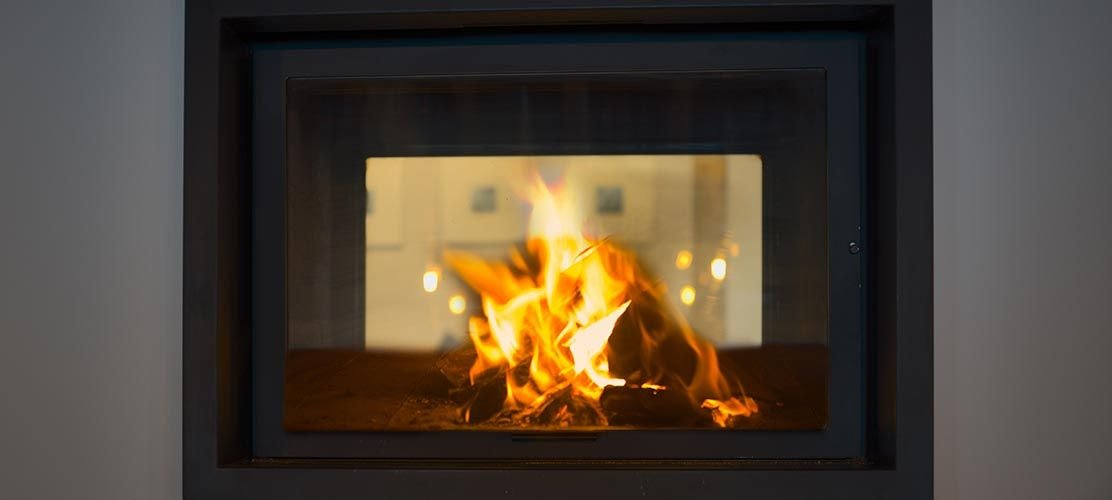 Log fire in chalet