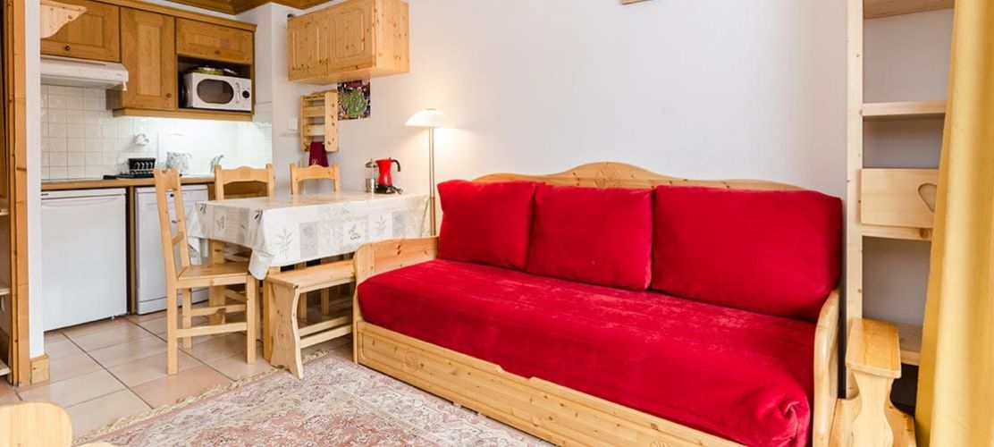 Self catered apartment living area in La Plagne Montalbert