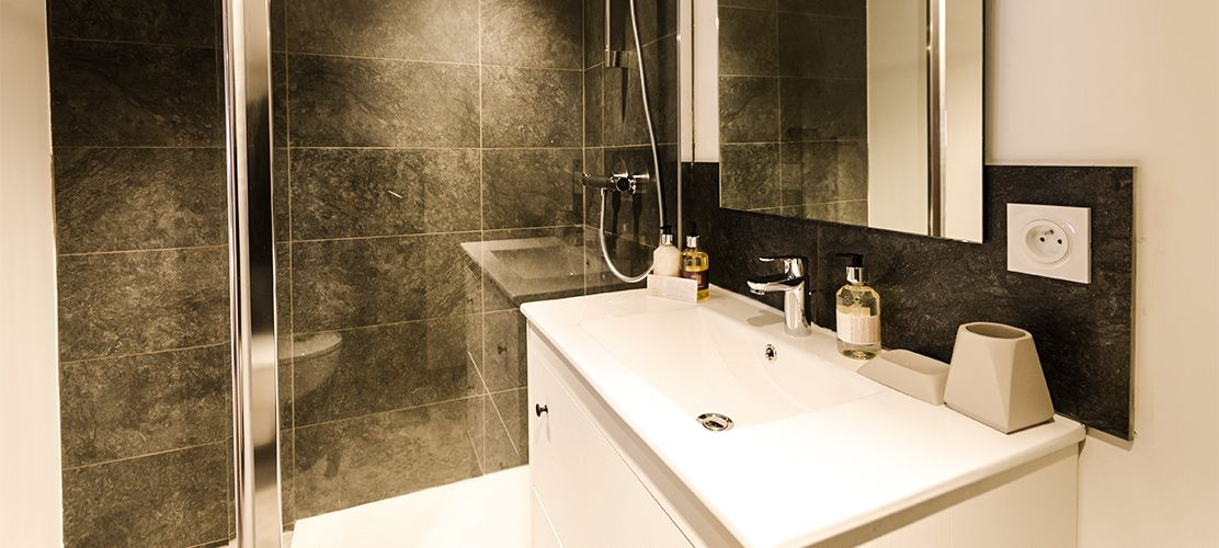Stylish bathroom with shower