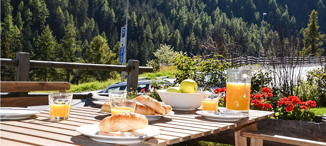 Outdoor dining in this 15th century style chalet