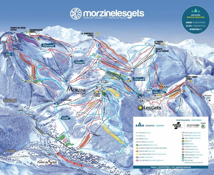 Piste map of Morzine & Les Gets
